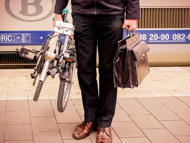 commuter with folding bike
